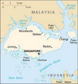 Сингапур на карте мира представлен